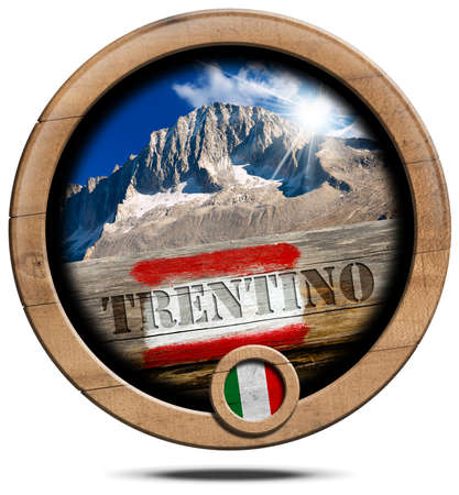 wooden trail sign: Wooden round icon or symbol with a mountain peak of Trentino, Italian flag, red and white trail sign with text Trentino. Isolated on white background