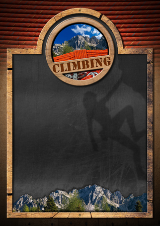 descender: Empty blackboard with wooden frame, symbol of climbing sport with mountaineering equipment and a mountain peak. Template for climbing sport
