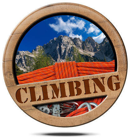 descender: Wooden round icon or symbol with a mountain peak, text Climbing, and climbing equipment. Isolated on white background