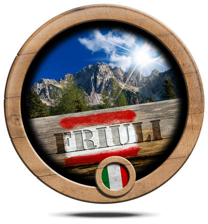 wooden trail sign: Wooden round icon or symbol with a mountain peak of Friuli Venezia Giulia, Italian flag, red and white trail sign with text Friuli. Isolated on white background