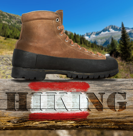 wooden trail sign: Old brown and black trekking boot on a wooden pole with red and white trail sign and text Hiking. In the background blurred mountain landscape Stock Photo