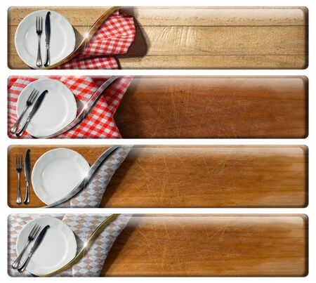 menu template: Collection of four kitchen banners with white empty plate and silver cutlery, checkered tablecloth, wooden background. Isolated with clipping path Stock Photo