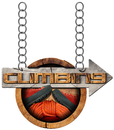 directional arrow: Wooden sign with climbing equipment and directional arrow with text Climbing. Hanging from a metal chain and isolated on white