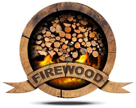 Holz-Symbol mit einem Haufen von Brennholz und Flammen, Text Brennholz auf einem hölzernen Band. Isoliert auf weißem Hintergrund