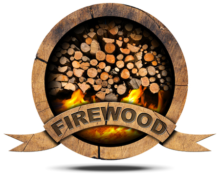 Wooden symbol with a pile of firewood and flames, text Firewood on a wooden ribbon. Isolated on white background Archivio Fotografico