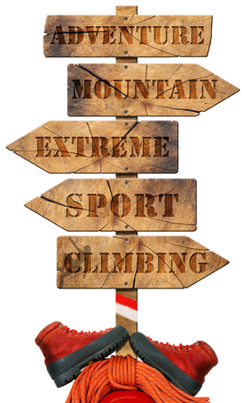Wooden directional sign with arrows and text adventure, mountain, extreme, sport, climbing, mountaineering equipment. Isolated on white background