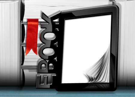 ereader: Black modern ebook reader with blank curled pages, text Ebook and a stack of books with a red bookmark