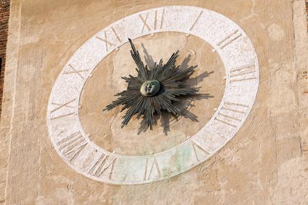 john the baptist: Detail of the Clock Tower of the church of San Giovanni Battista St. John Baptist, XI-XII Century in Treviso, Veneto, Italy