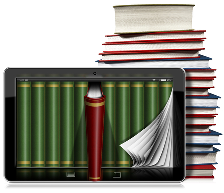 page corner curl: Horizontal black tablet computer with curled pages and books in the screen and a stack of books. Isolated on white background Stock Photo