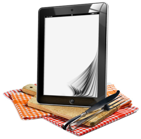 silver cutlery: Tablet computer with blank pages on a wooden cutting board, checkered tablecloth and silver cutlery. Isolated on white background