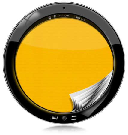 yellow pages: Round black tablet computer with empty yellow pages in the screen. Isolated on white background