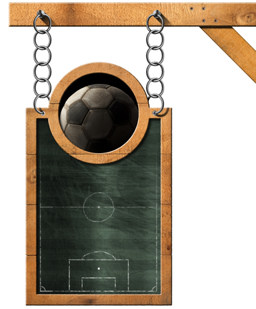 metal chain: Green blackboard with a soccer field and an old soccer ball. Hanging from a metal chain on wooden pole and isolated on white