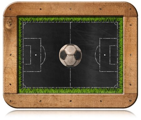 soccer field grass: Blackboard with wooden frame, football field (Usa soccer), ball and green grass. Isolated on white background Stock Photo