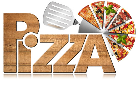 Wooden icon or symbol with text Pizza, stainless steel pizza cutter and slices of pizza. Isolated on a white background