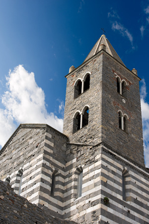 consecrated: The ancient church of San Pietro (consecrated in 1198) in Portovenere or Porto Venere (UNESCO world heritage site) - La Spezia, Liguria, Italy