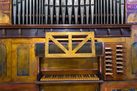 pipe organ: Detail of an ancient pipe organ in an Italian church