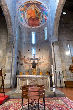 italian fresco: Interior of the Church of Saint Andrea (Pieve di SantAndrea) VIII century. Pistoia, Tuscany, Italy