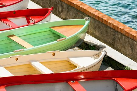 rowboats: Rowboats in Tellaro, small village near Lerici, La Spezia, Liguria, Italy Stock Photo