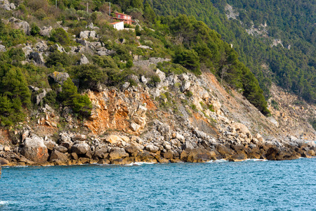 coastal erosion: Coastal erosion of the cliffs of the Liguria in Italy