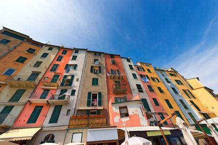 apartment tower old town: The tower houses in Portovenere or Porto Venere (UNESCO world heritage site). La Spezia, Liguria, Italy Stock Photo