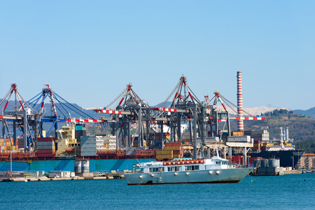 docking: Container ships, containers and cranes in the harbor of La Spezia, Liguria, Italy. In the background the Apuan Alps