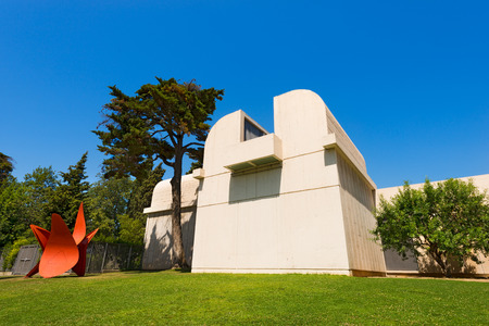 BARCELONA, SPAIN - JUNE 11, 2014: Fundacio Joan Miro - 1975, is a museum of modern art with the works by Joan Miro, located on the hill called Montjuic in Barcelona, Spain. Architect: Josep Lluis Sert Editöryel