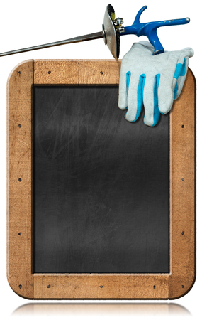 fencing foil: Empty chalkboard with wooden frame, a detail of a fencing foil and blue and white glove. Isolated on white background Stock Photo