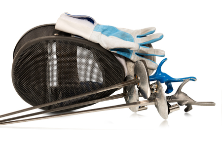 fencing foil: Fencing foil equipment. Three fencing foils with pistol grip (sporting weapon), a fencing mask and a blue and white glove. Isolated on white background