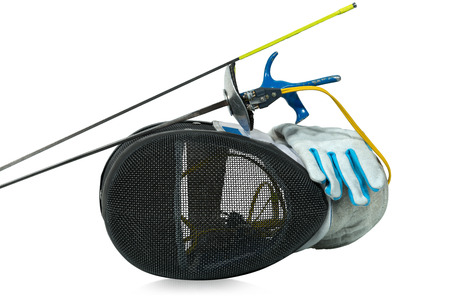 sporting equipment: Fencing foil equipment. Two fencing foils with pistol grip (sporting weapon), a fencing mask and a blue and white glove. Isolated on white background
