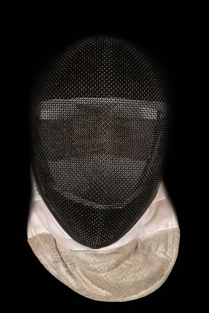 pentathlon: Detail of a fencing mask isolated on black background Stock Photo