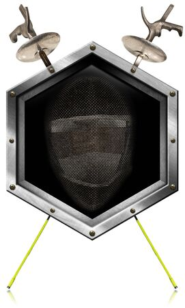 pentathlon: Illustration of a hexagonal metallic symbol with fencing mask and two fencing foils. Isolated on white background Stock Photo