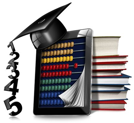 wooden hat: 3D illustration of a black tablet computer with a wooden and colorful abacus, a stack of books and a graduation hat. Isolated on white background