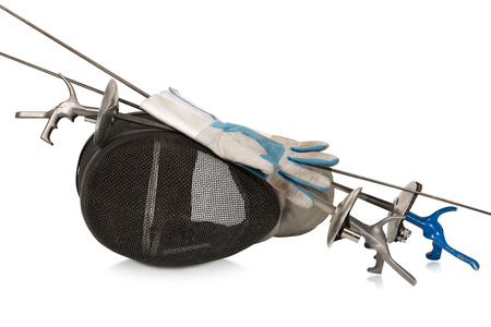 sporting equipment: Fencing foil equipment. Three fencing foils with pistol grip (sporting weapon), a fencing mask and a blue and white glove. Isolated on white background