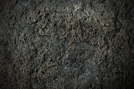 Macro foto de una roca volcánica negro (bomba volcánica). volcán Etna, Sicilia, Italia