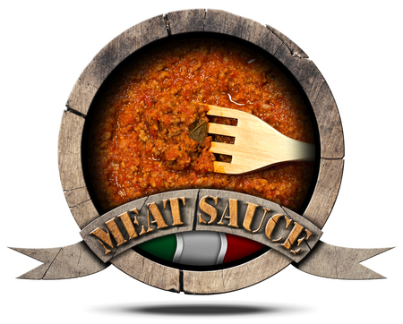 bolognese: 3D illustration of a wooden symbol with italian meat sauce (Bolognese sauce) with text Meat Sauce, Italian flag and wooden fork Stock Photo