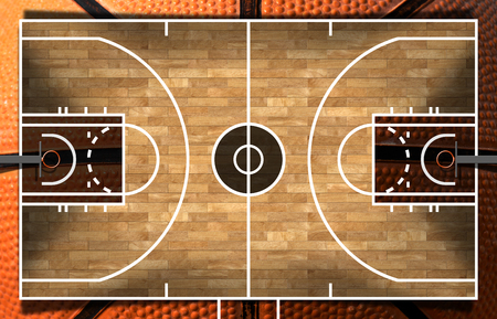 floor ball: Realistic 3D illustration of a basketball court with wooden floor (parquet) and orange and black ball