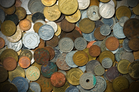 numismatist: Background with many old European coins