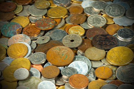 numismatist: Macro photography of many old and vintage European coins