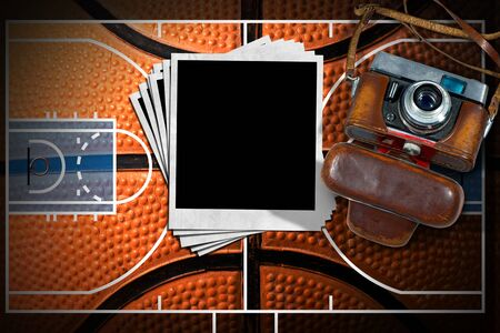 instant photo: Vintage camera and empty instant photo frames on a basketball court (illustration) with detail of a black and orange basketball