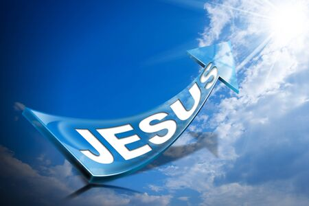 certainty: 3D illustration of a Blue arrow with text Jesus against a blue sky with clouds and sun rays
