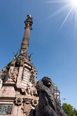 christopher: The Column of Barcelona, Spain. Monument dedicated to the famous Italian navigator Cristoforo Colombo (Christopher Columbus) Stock Photo