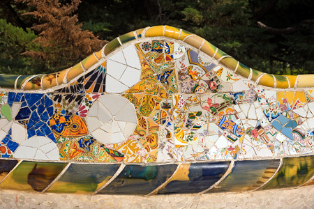 antoni: Detail of ceramic bench in the Park Guell designed by the famous architect Antoni Gaudi (1852-1926). Stock Photo