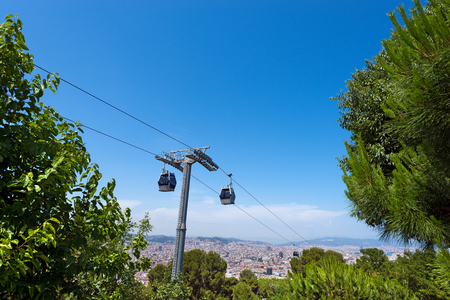 catalunya: Cableway to Montjuic and panoramic view of the Barcelona city. Catalonia (Catalunya), Spain