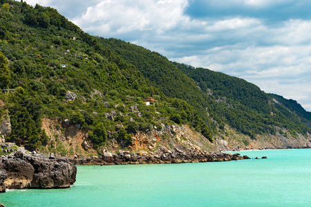 Coastline in the Gulf of La Spezia (The Gulf of Poets) in Tellaro near Lerici. Liguria, Italy, Europe