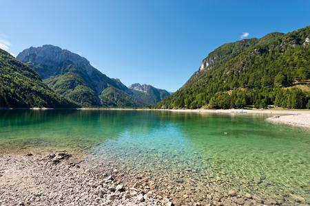 julian: Lago del Predil (Predil Lake). Small mountain lake in Julian Alps, Tarvisio, Friuli Venezia Giulia, Italy Stock Photo