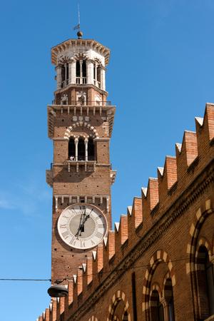 Medieval tower of Lamberti (Torre dei Lamberti) (XI century - 84 m.) in Verona   - Veneto, Italy