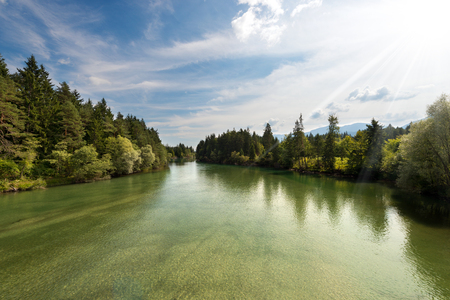 tributary: The green Gail River the largest tributary of the Drava River. Carinthia, Austria
