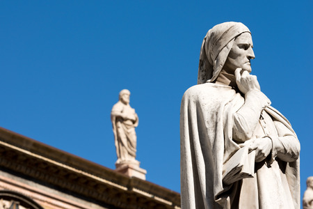 Statue of Dante Alighieri (1265-1321) father of the Italian language in Piazza dei Signori in Verona  Veneto, Italy