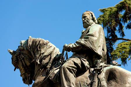 Monument of Giuseppe Garibaldi (general, patriot, leader and Italian writer 1807-1882) on horseback - bronze statue in Verona, Veneto, Italy Stock Photo