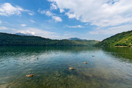 alto adige: Lago di Levico (Levico Lake) in Valsugana, Levico Terme, Trentino Alto Adige, Italy, Europe